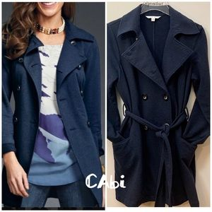 CAbi Double Breasted Long Navy Jacket Size M